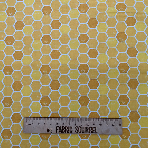 Honeycomb Bee Fabric - Feed the Bees by 3 Wishes Fabrics