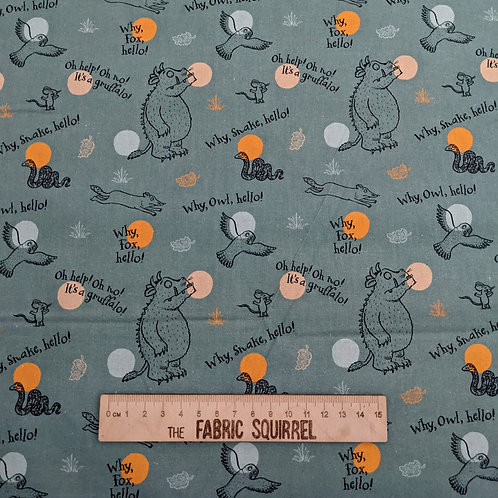 Green Why Hello Fabric - The Gruffalo by Julia Donaldson