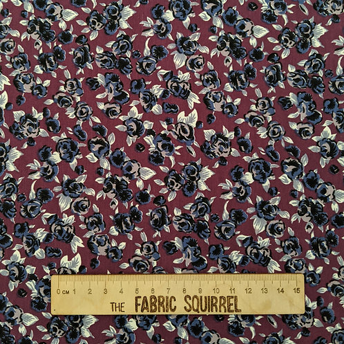 Ditsy Floral Plum and Blue Stretch Dressmaking Material Made in the UK - Viscose