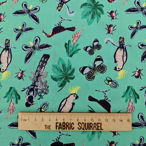 Turquoise Tropical Rainforest Fabric- Explore the Tropics Natural History Museum