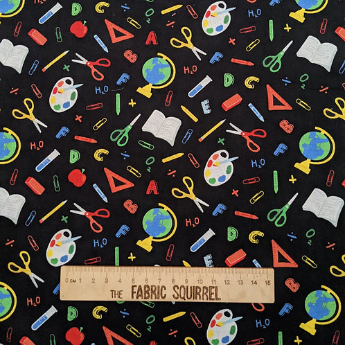Teachers Rule Fabric - Black School Themed Material from Camelot Fabrics