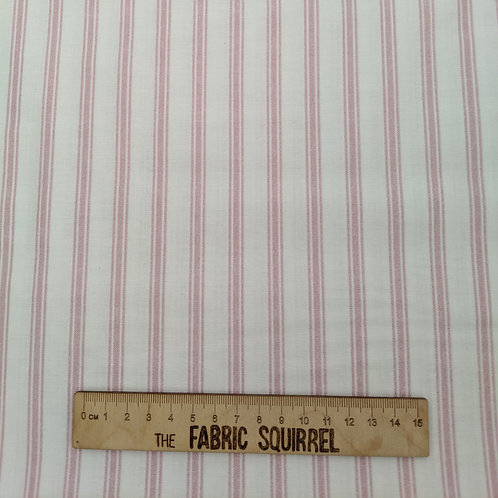 Rose Pink Ticking Fabric - White and Pink Stripe Cotton from Lewis & Irene