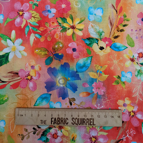 Orange and Rainbow Coloured Floral Fabric - Party Animals by 3 Wishes Fabrics