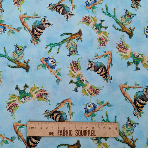 Turquoise Owls - Multi-directional Owls - Go Owl Out from 3 Wishes Fabrics