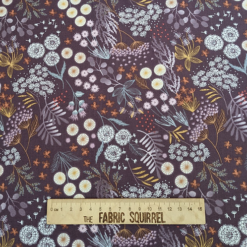 Burgundy Floral Dandelion Thistle Fabric - Fairy Clocks by Lewis and Irene