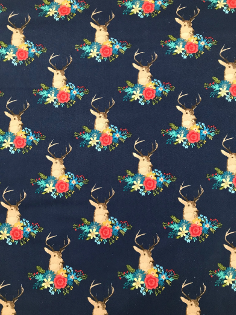 Floral Deer / Stag Fabric in Navy Blue