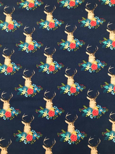 Floral Deer Fabric in Navy Blue