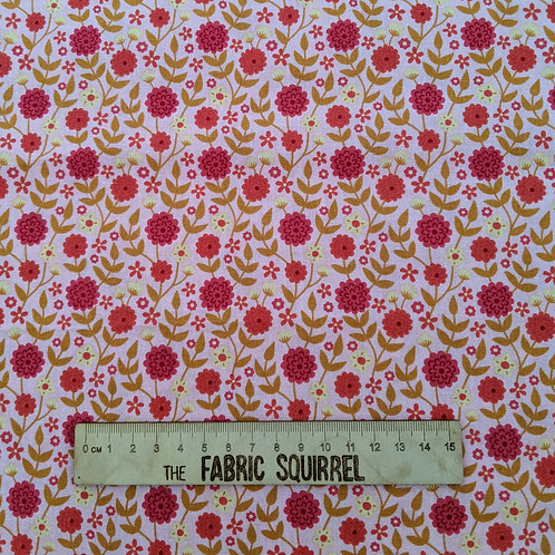 Retro Pink and Orange Floral Fabric - Floral Birthday from Craft Cotton Company