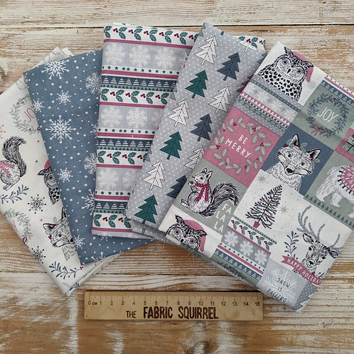 Woodland Christmas - Blue and Purple Christmas Woodland Animals -  Fat Quarters