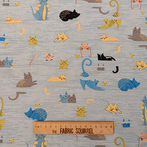 Blue Cat Fabric - Whiskers by QT Fabrics