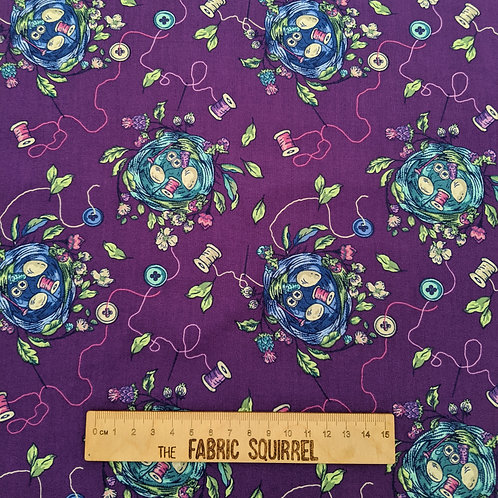 Bird Nest and Sewing Supplies - Stag and Thistle by Northcott Fabrics