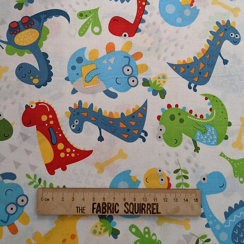 White Multidirectional Dinosaurs - Little Dino from Fabric Editions