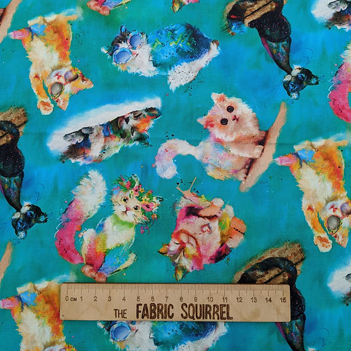 Turquoise Multi Directional Cats - Good Kitty from 3 Wishes Fabric