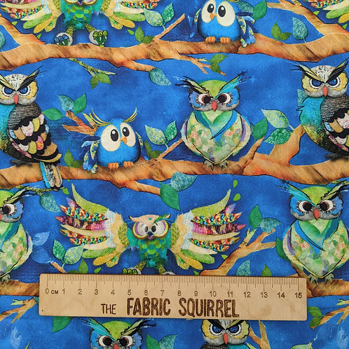 Blue Owls - Owl Out from 3 Wishes Fabric