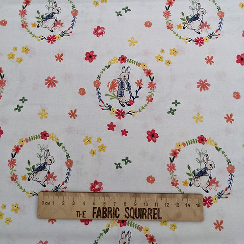White Peter Rabbit Wreath - Peter Rabbit Flowers and Dreams Fabric