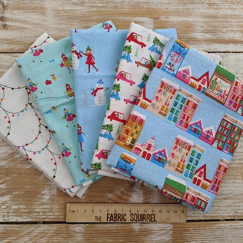 Christmas Town Fabric- Christmas Houses - Shopping for Christmas Trees -  Fat Qu