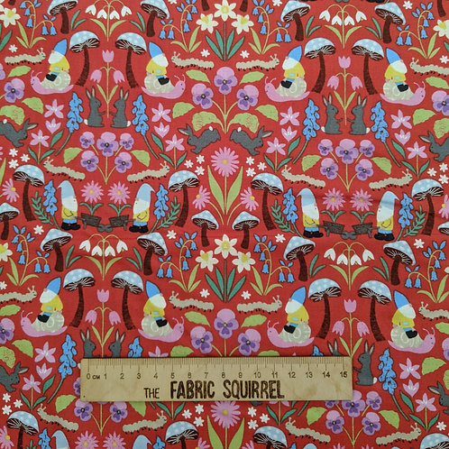 Red Garden Gnome Fabric - Lewis and Irene