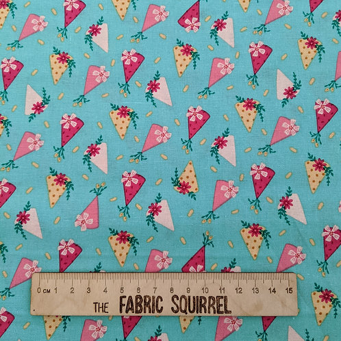 Turquoise Blue Party Hat Fabric - Floral Birthday from Craft Cotton Company