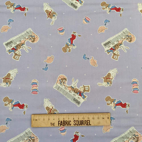 Lilac Mad Hatters Tea Party - Alice in Wonderland Fabric - V&A Museum