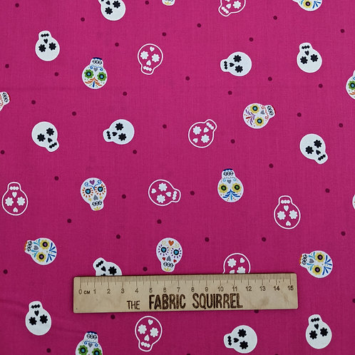 Sugar Skulls on Pink Glow in the Dark - Lewis and Irene Small Things Glo