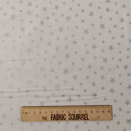 White and Silver Metallic Star Fabric - Lewis and Irene Marvellous Metallic