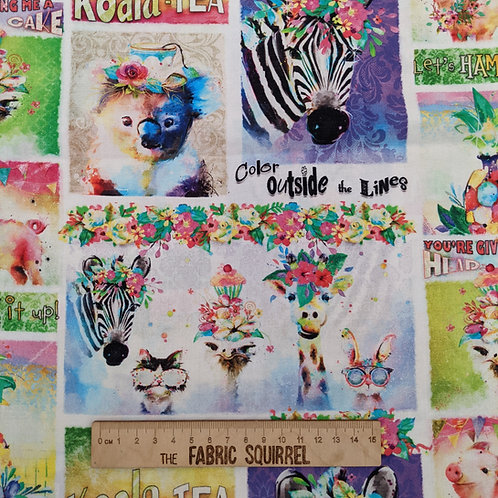 Party Animal Phrases Fabric - Party Animals by 3 Wishes Fa
