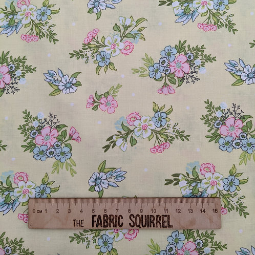 Pale Yellow  Floral Fabric - Playful Kittens by Craft Co