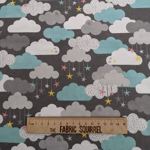 Grey and Mint Cloud Flannel Cotton -Small and Mighty from 3 Wishes Fabrics