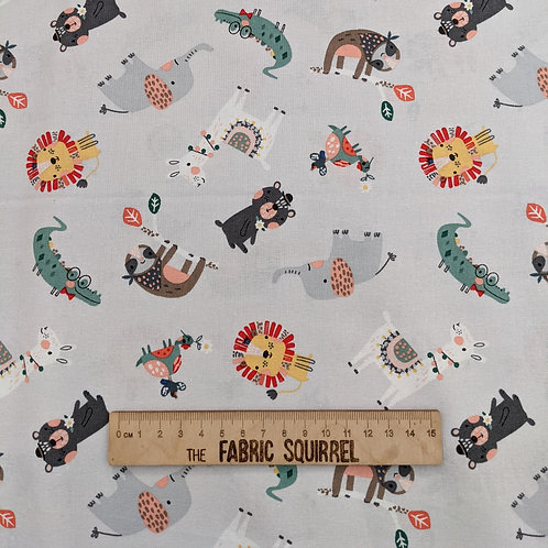 Grey Multidirectional Animals - Wild About You from Fabric Editions
