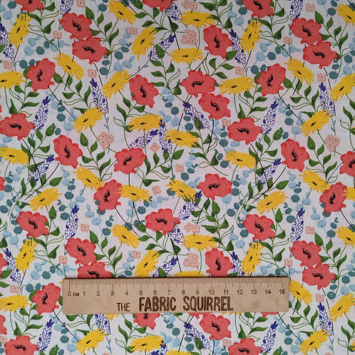 Wild Flower Fabric - Feed the Bees by 3 Wishes Fabrics
