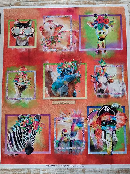 Party Animal Fabric Panel Orange -3 Wishes Fabric