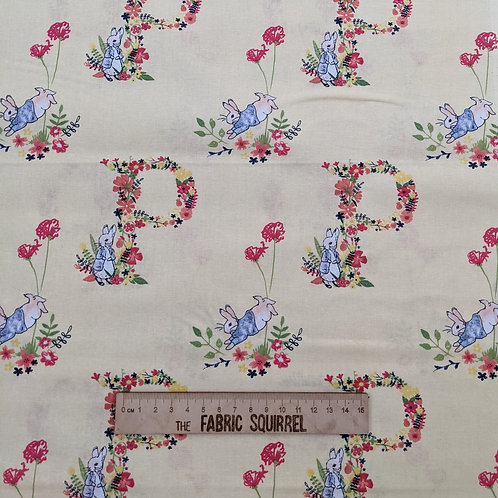 P is for Peter - Peter Rabbit Flowers and Dreams Fabric