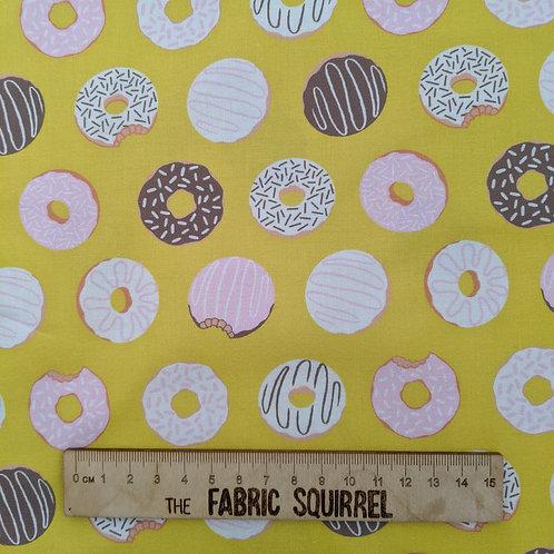 Yellow Doughnut Fabric - American Road Trip from Figo