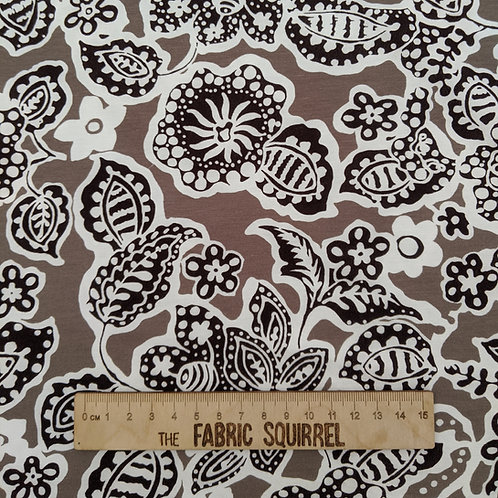 Taupe Paisley Viscose Jersey Fabric - Floral Stretch Dressmaking Material