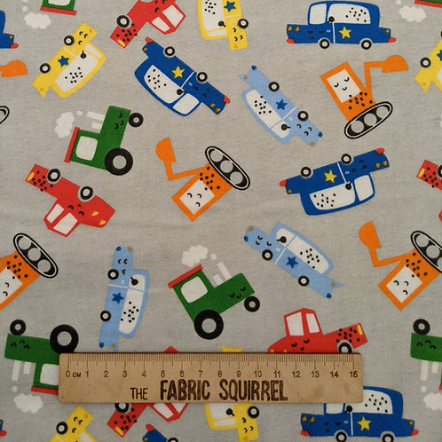 Cars and Tractor Flannel Fabric on Grey from 3 Wishes Fabrics