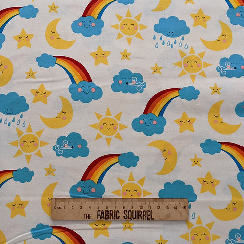 Happy Skies - Happy Clouds and Rainbow Fabric