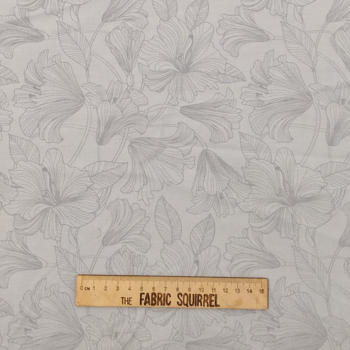 Grey Lillie Fabric from Northcott - Simple Pale Grey Flower Material