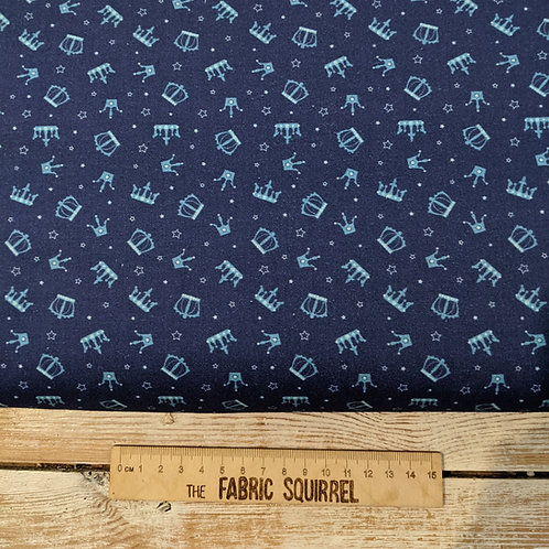Blue Kings and Queens Crown Fabric - Once Upon a Time from Camelot Fabrics