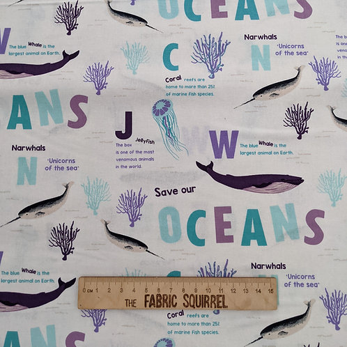 Save Our Oceans - Natural History Museum Fabric