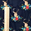 Thumbnail: Floral Deer Fabric in Navy Blue