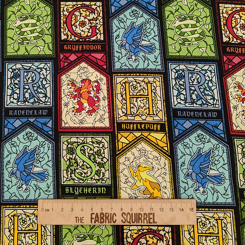 Harry Potter Fabric - House Colours Stain Glass Windows