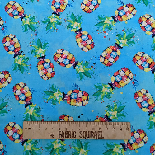 Turquoise Pineapple Fabric - Party Animals by 3 Wishes Fabrics