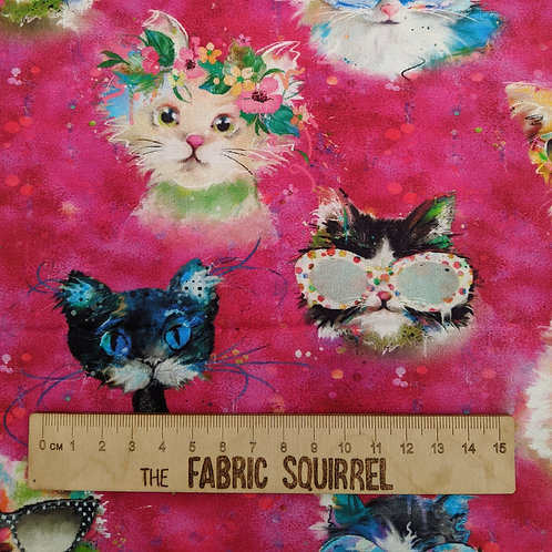 Pink Cat Fabric - Good Kitty from 3 Wishes Fabric