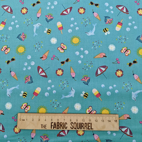 Summer Themed Fabrics in Turquoise from Lewis & Irene
