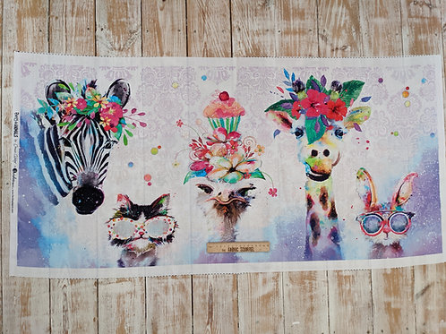 Party Animals White Quilt Panel - from 3 Wishes Fabric