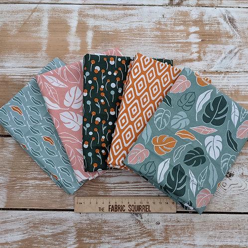 Botanical Elements Myrtle Fat Quarter Bundle - Green and Orange Leaf Fabric