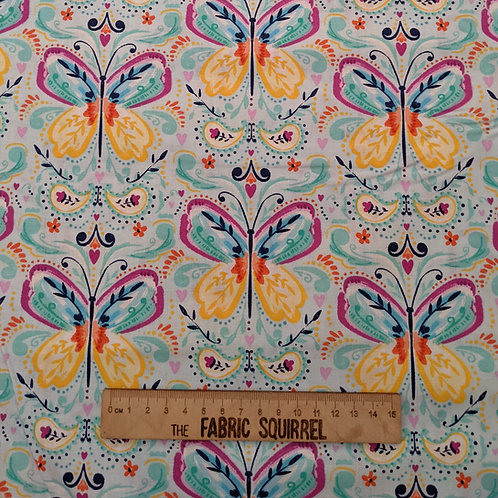 Blue Butterfly Fabric - Summer Song by 3 Wishes Fabric