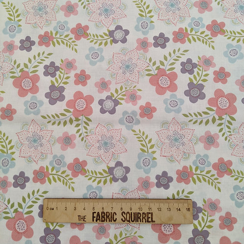 Multi Floral on White - Hootsie from Craft Cotton Company