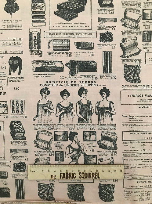 Sewing Themed Fabric - Comptoir De Mercerie ( Haberdashery Counter)
