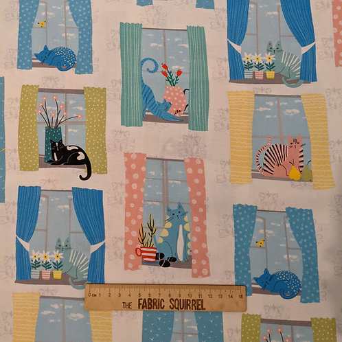 Cats in Windows Fabric - Whiskers by QT Fabrics